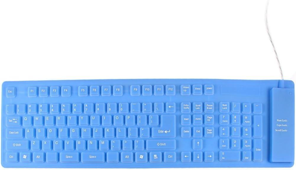 Azul 109 llaves rueda para arriba de silicona USB 2.0 Teclado ...