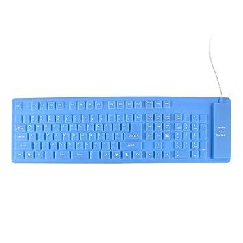 Azul 109 llaves rueda para arriba de silicona USB 2.0 Teclado flexible para el ordenador portátil
