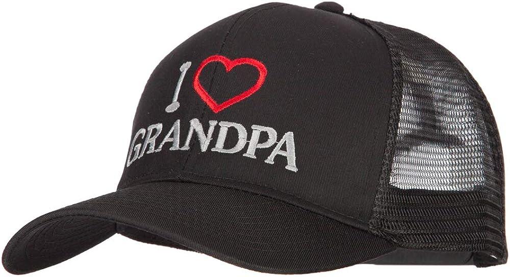 I Love Grandpa Embroidered Solid Cotton Mesh Pro Cap