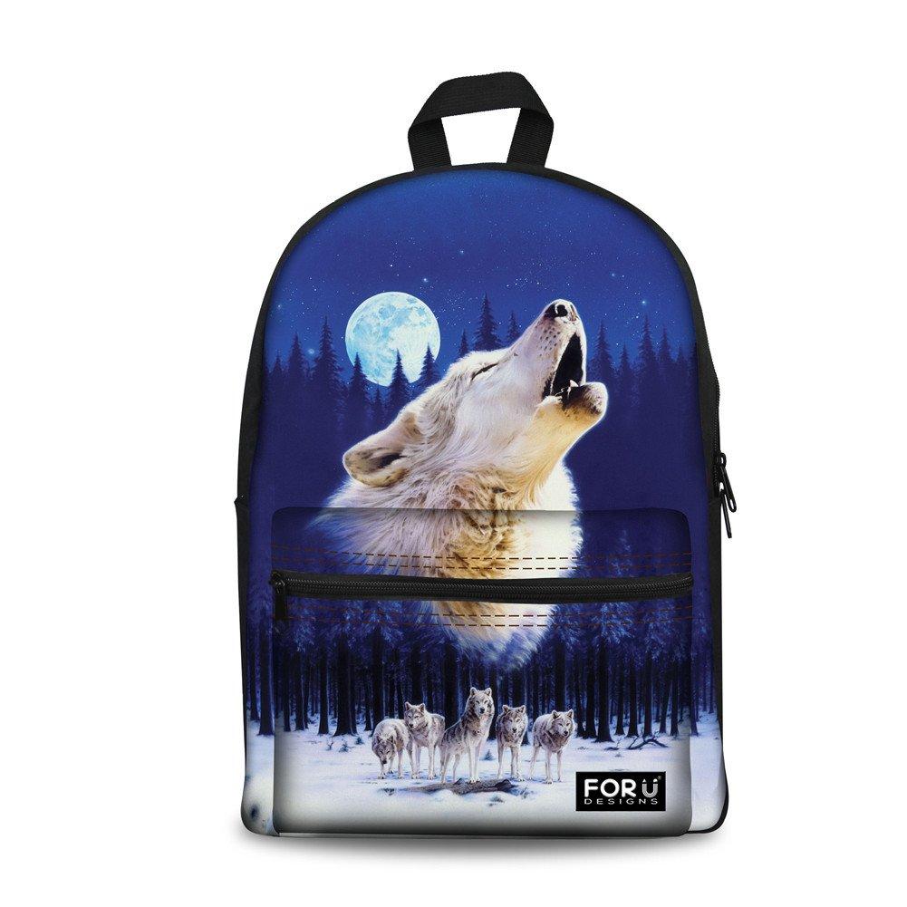 Bigcardesigns Cool Wolf Canvas Bookbag Backpack