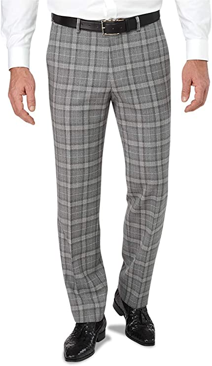 60s – 70s Mens Bell Bottom Jeans, Flares, Disco Pants Paul Fredrick Mens Tailored Fit Flat Front Italian Wool Plaid Pant $99.98 AT vintagedancer.com