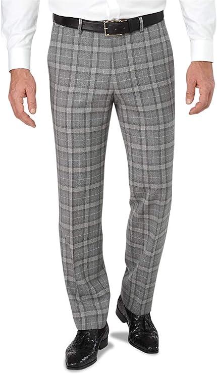 1920s Men's Pants, Trousers, Plus Fours, Knickers Paul Fredrick Mens Tailored Fit Flat Front Italian Wool Plaid Pant $99.98 AT vintagedancer.com