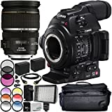 Canon EOS C100 Mark II Cinema EOS Camera with EF-S 17-55mm f/2.8 IS USM Lens 12PC Accessory Bundle – Includes 3PC Filter Kit (UV + CPL + FLD) + MORE - International Version (No Warranty)