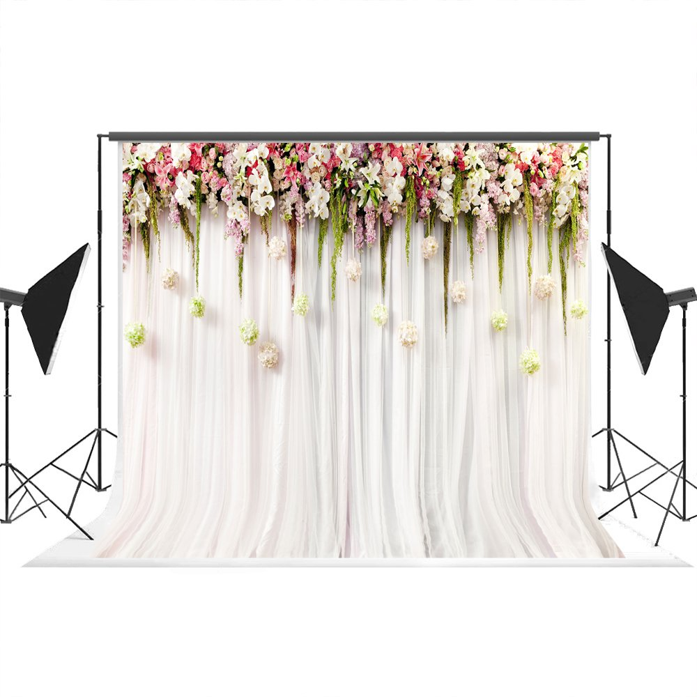 7x5ft White Pink Lace Curtain Wedding Ceremony Cotton Polyester Printed Colorful Flowers Photography Backdrops Seamless and Wrinkle Free Photo Studio Background Props