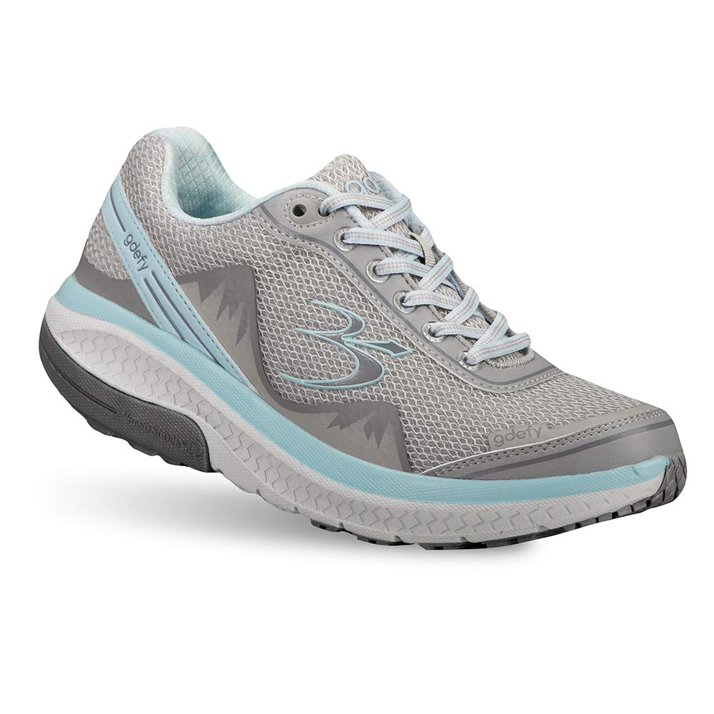 Gravity Defyer Pain Relief Women's G-Defy Mighty Walk Athletic Shoes 6 M US- Shoes for Plantar Fasciitis - Gray, Blue