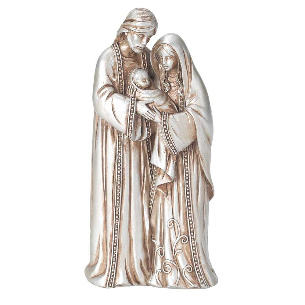 Holy Family Aged Silver Tone 3 x 5.5 Resin Stone Christmas Nativity Scene Figurine Dicksons