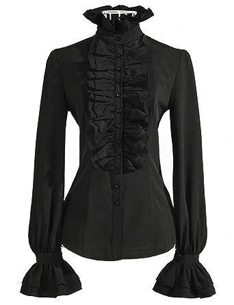 c0961432d5294 DEARCASE Elegant Stand Collar Lotus Leaf Ruffle OL Top Blouse Shirt Black S