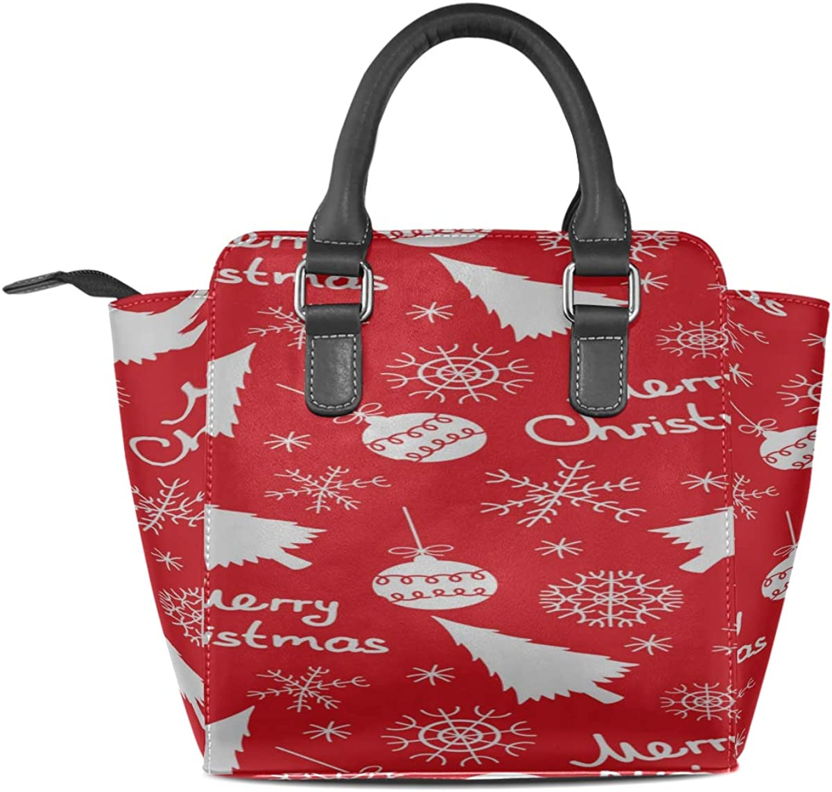 Fashion Tote Bag For Women Of Christmas Elements On A Red Custom Handle Purses Pu Leather Rivet Portable Fashion Printing Waterproof With Zipper Handbags For Teens