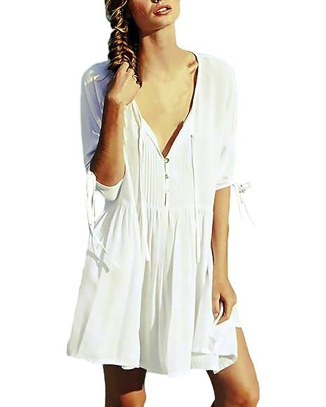 Strandtunika Damen Sommerkleider Dünn Elegant Perfect Pin-up UV Schutz Strandkleid V-Ausschnitt Normallacks Loose Casual Boho