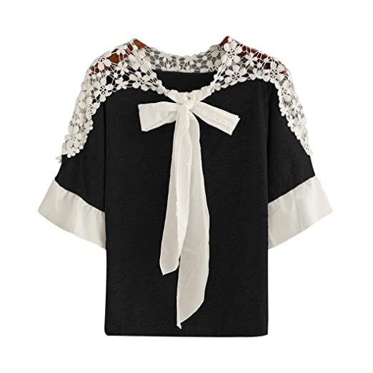 Ankola Women Lace Hallow T-Shirt Short Sleeve Casual Blouse Tie Front Knot  Top ( c7942fe4d