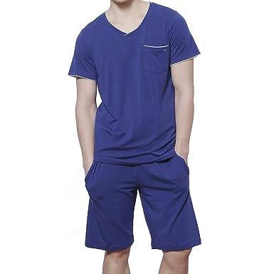 d4c10969c183 HACAI Men's Pajama Set Soft Cotton Short Sleeve Summer Sleepwear Blue S