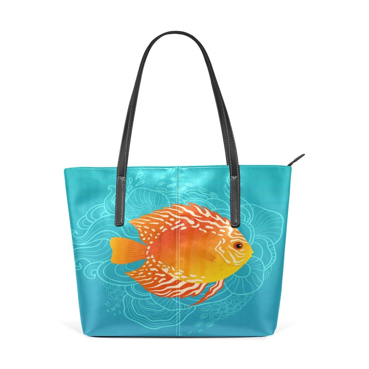 Women Leather Handbags Orange Fish Top Handle Shoulder Bags