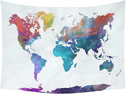 INTERESTPRINT Abstract Art Splatter Painting Home Decor, Watercolor World Map Colorful Tapestry Wall Hanging Art Sets 80 X 60 Inches
