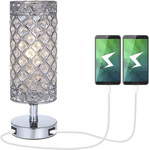 Lámpara de Mesa de Cristal,Tomshine Lámpara Mesilla de Noche, Doble USB Recargable, Pantalla de Lámpara Plateada con Cristal K5,para Sala de Estar, Dormitorio, Comedor: Amazon.es: Iluminación