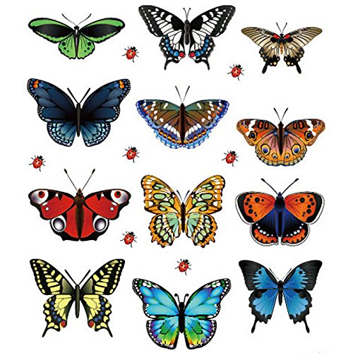 Haluoo Fashion Butterfly Stickers 12 Pcs, Stylish Waterproof PVC Sticker Decals for Kids,Laptop,Cars,Motorcycle,Bicycle,Skateboard Luggage,Bumper Stickers Decoration Accessories (Multicolor)