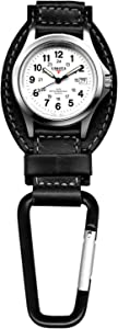 Dakota Black Leather Field Clip Watch