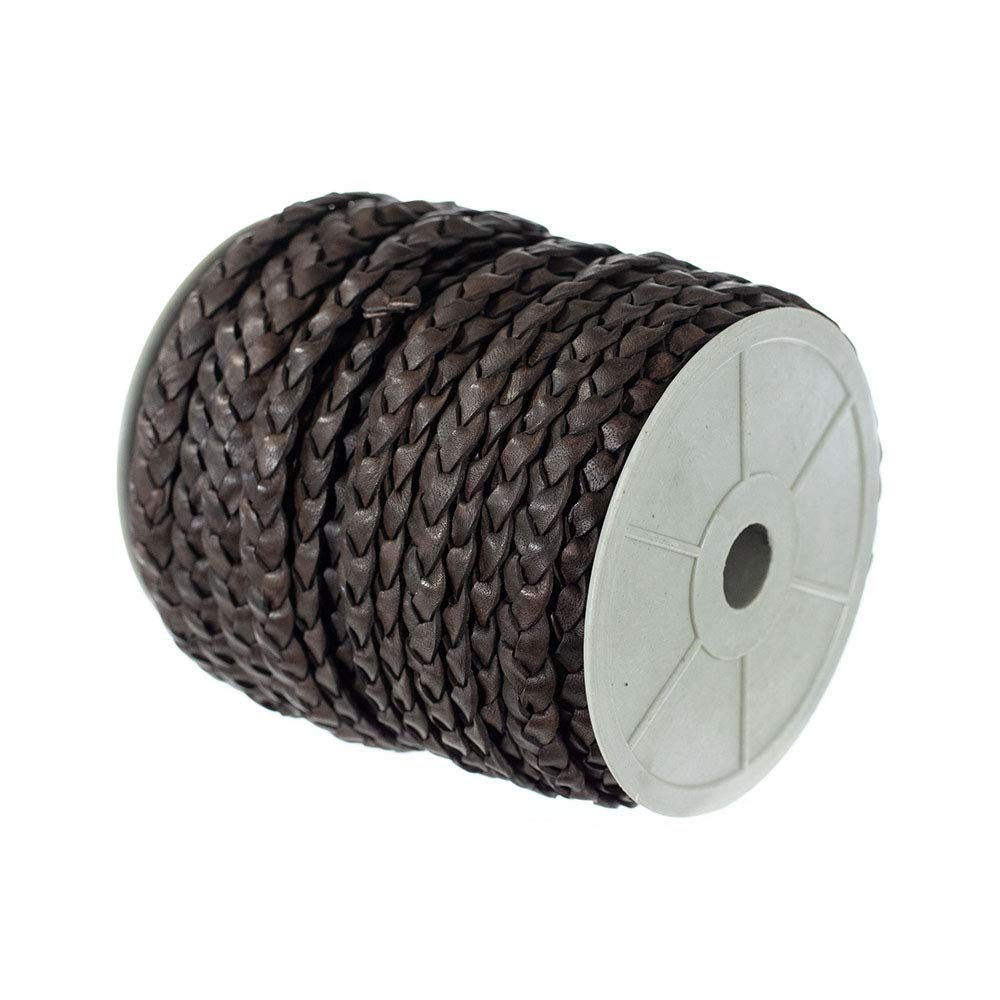 Craft County Flat Braided Leather Jewelry Craft Cord Bracelets Black, 10mm X 25 Yards Necklaces Crafts and Jewelry Making Belts