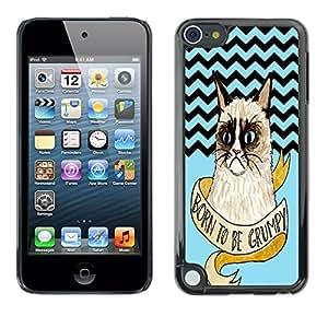 - Chevron Grumpy Cat - - Monedero pared Design Premium cuero del tir¨®n magn¨¦tico delgado del caso de la cubierta pata de ca FOR Apple iPod Touch 5TH GEN Funny House