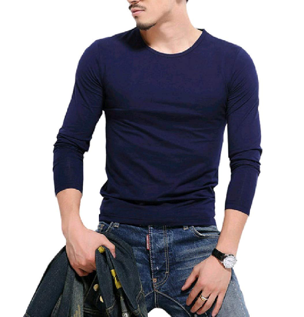Zimaes-Men Soft Chic Cozy Pullover Oversize Tees Top Tshirts Royal Blue 2XL