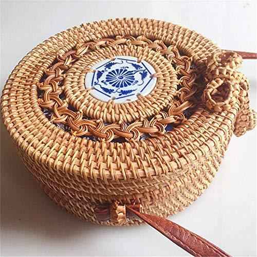 Con PU de bolso hombro cerámica bolsos decorativo hecho para Ronda Correa paja mujer a paja de hombro tejido el mano paja Beatie Bolso Bolso Playa Verano de bolso 60wUnqWT0