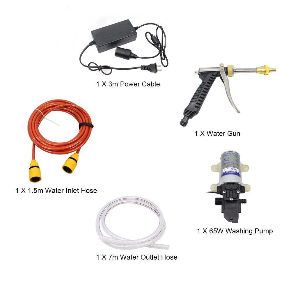 Car Washer,Quora 12V 65W Electric High Pressure Washer Pump Car Washer Device Kit