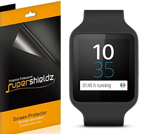 Supershieldz (6 Pack) Anti Bubble Clear Screen Protector for Sony Smartwatch 3, High Definition Clear Shield (PET)