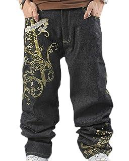 f3b9964e1a012 Hip Hop Baggy Jeans para Hombre Pantalones Bordados Sueltos Pantalones  Vaqueros de Mezclilla Danza…