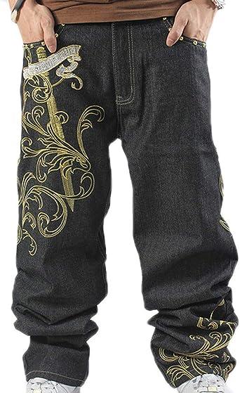 Hip Hop Baggy Jeans Para Hombre Pantalones Bordados Sueltos Pantalones Vaqueros De Mezclilla Danza Pantalones Rectos Amazon Es Ropa Y Accesorios