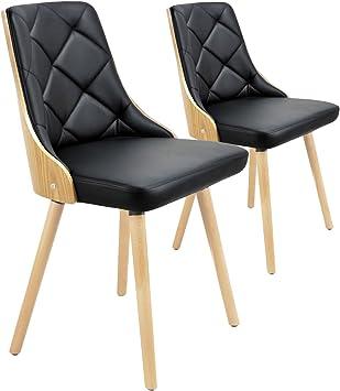 de cm scandinaves 2 chaises Chêne ClairNoirCuirClairNoir53x48x79 Menzzo Lalix Lot b67yvYfg