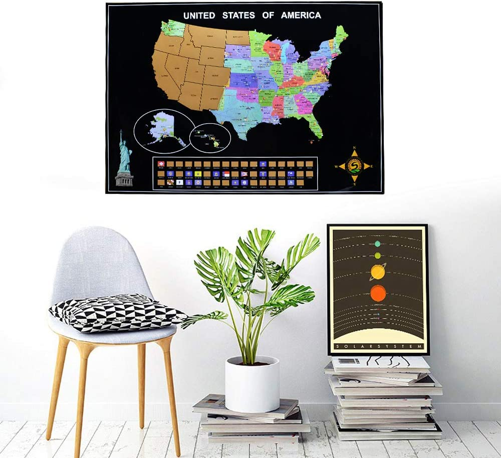 Fun and Colorful Scratch Map Scratch Off USA Map Scratch Off Map of The World Children Gift for Travelers Wall Decals for Living Room Home Decor Includes Complete Accessories Set