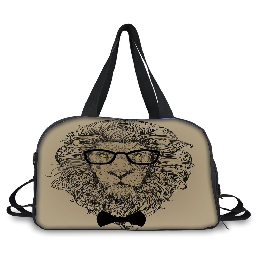 iPrint Travel handbag,Indie,Lion Character Portrait with Glasses and Bowtie Hipster Smart Cool Dandy,Sand Brown Black Yellow ,Personalized
