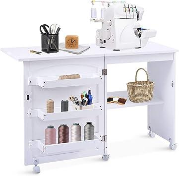 Goplus - Armario plegable para costura, mesa para máquina de coser ...