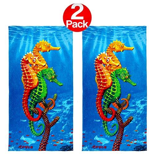 KAUFMAN - Seahorses Printed Beach Towel (106034) - 2 Pack Set