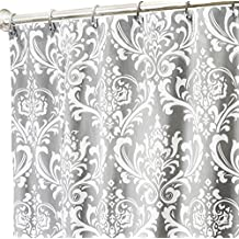 Extra Long Shower Curtain Fabric Shower Curtains Bathroom Curtains Gray Shower Curtain Damask 84""