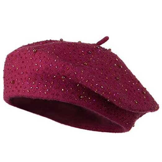 SS Sophia Beads Decoration Wool Beret - Hot Pink OSFM at Amazon ... ff67d2b5dbc