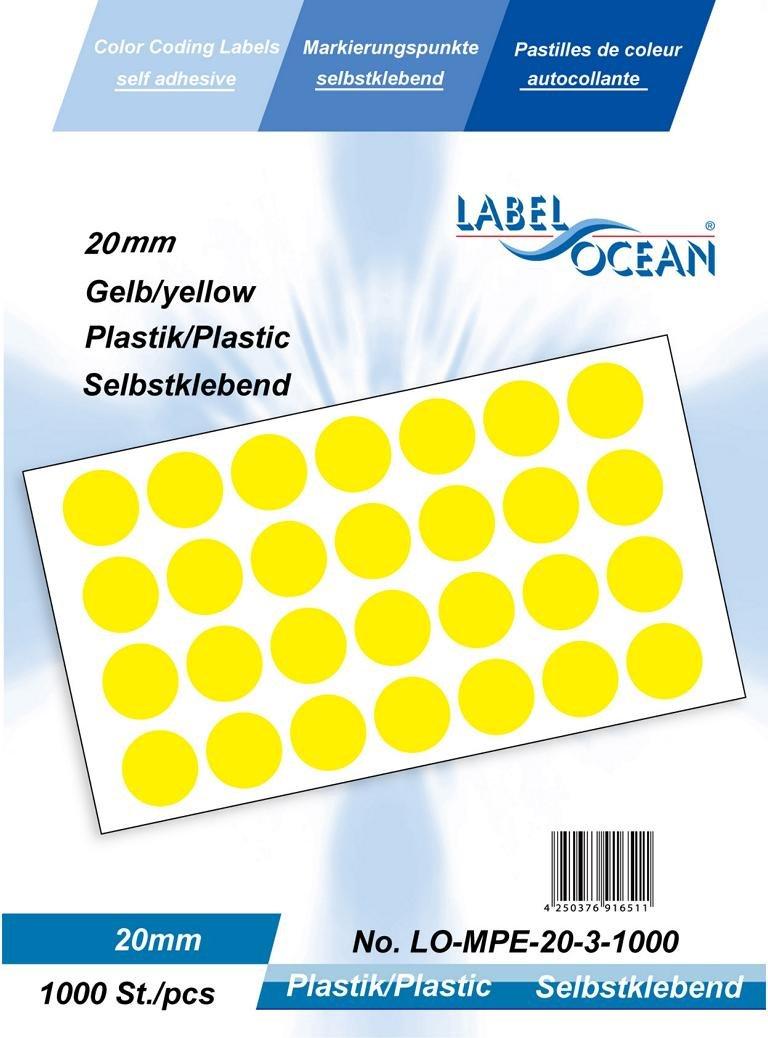 Farbpunkte, farbige Klebepunkte schwarz von LabelOcean 20mm aus Plastik, 1000 Markierungspunkte R Vielzwecketiketten LO-MPE-20-88-1000