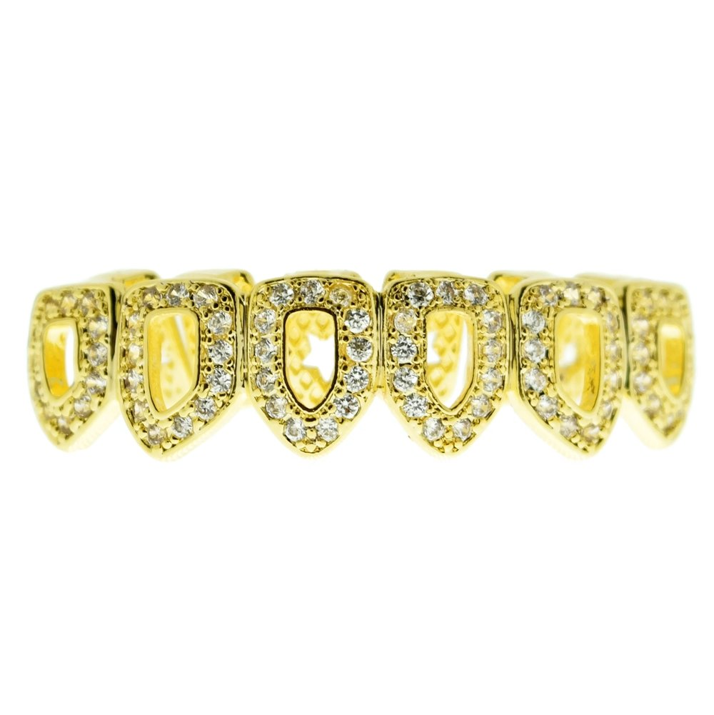 Bling Cartel Grillz CZ 14k Gold Plated Bottom Teeth Six 6 Open Face Cubic Zirconia Lower Hip Hop Grills by Bling Cartel