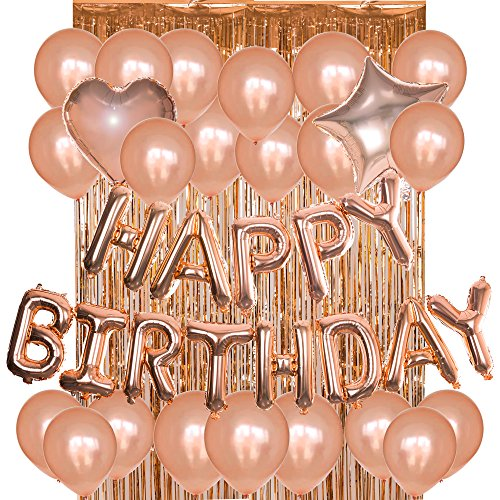 Jmay Birthday Decorations Party Supplies Kit Rose Gold Happy Birthday Letter Foil Balloons Latex Balloons,Metallic Tinsel Foil Fringe Curtains]()