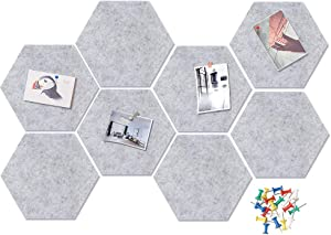 VANCORE 8 PCS Felt Bulletin Board Tiles Push Pins Memo Board for Notes,Photos,Office Home Wall Decoration 8.6x7.5In (Grey)