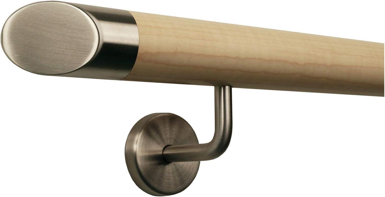 Ahorn Gel/änder Handlauf Treppe Holz Griff gewinkelt Edelstahlhalter L/änge 30-500 cm aus einem St/ück//Variante:30 cm mit 2 Halter gefast