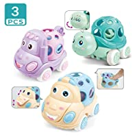 ZMZS Rattle and Roll Car for Toddlers, Push and Go Toy with Soft Rubber Rattle 3...