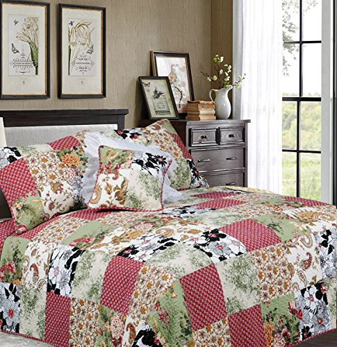 Cozy Line Home Fashions Vintage Patchwork Quilt Bedding Set, Julie's Garden Floral,100% Cotton, Reversible Coverlet, Bedspread, Gifts for Women (Burgundy Red/Green, King - 3 Piece) from Cozy Line Home Fashions