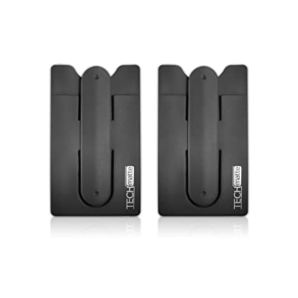 brand new a0aa4 833d4 TechMatte Phone Wallet-Stick On Card Holder and Money Clip with Built-in  Phone Stand (2-Pack, Black)