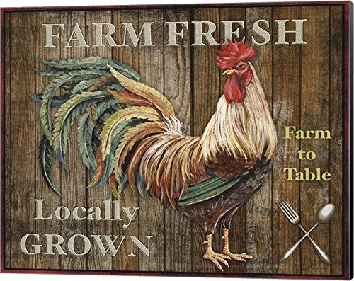 Farm Fresh I by Jean Plout Canvas Art Wall Picture, Museum Wrapped with Black Sides, 20 x 16 inches (Framed Rooster Pictures)