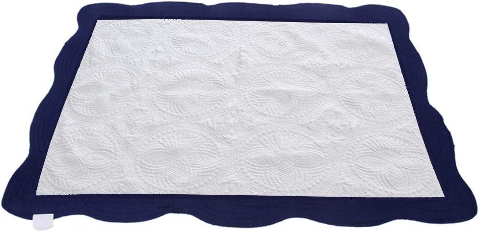 "CFP Navy Trim White Baby Quilt - Heirloom Baby Quilt Navy and White, Navy Trim, 36"" × 46"", Scallop Trim (Navy Trim)"