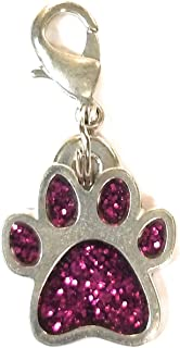 product image for Rockin Doggie Pewter Paw Sparkle Charm Dog Collar Clip Bling