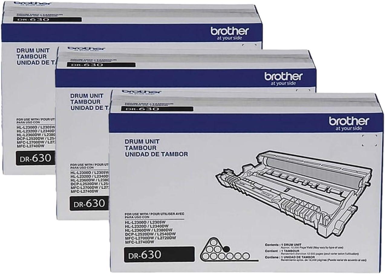 3-Toner Cartridges Brother DR-630 DCP-L2520 L2540 HL-L2300 MFC-L2680 L2685 L2700 Drum Unit in Retail Packaging