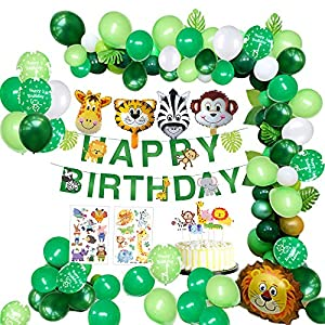 MMTX Jungle Décorations Anniversaire Garcon Enfant-Bannière Joyeux Anniversaire avec Feuilles de Palmier, Latex Ballons…