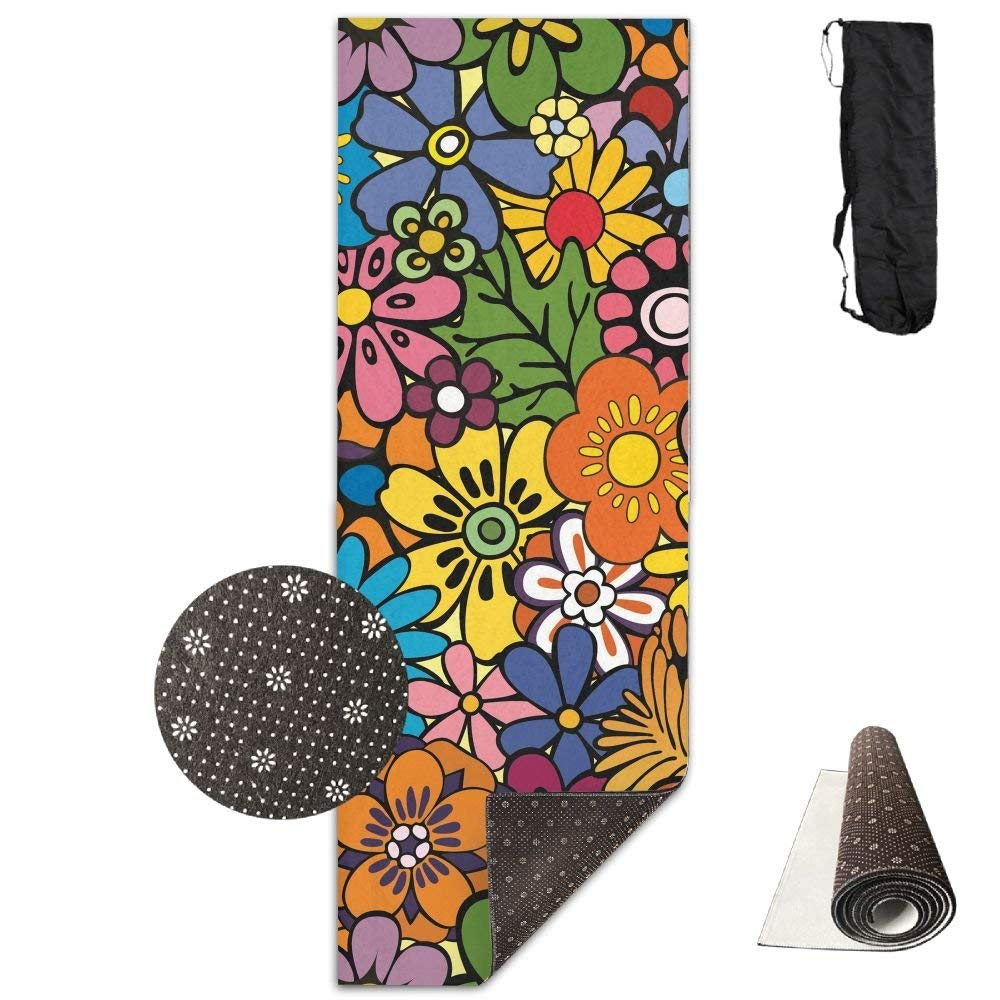 Pretty Colorful Flowers Deluxe,Yoga Mat Aerobic Exercise Pilates Anti-slip Gymnastics Mats