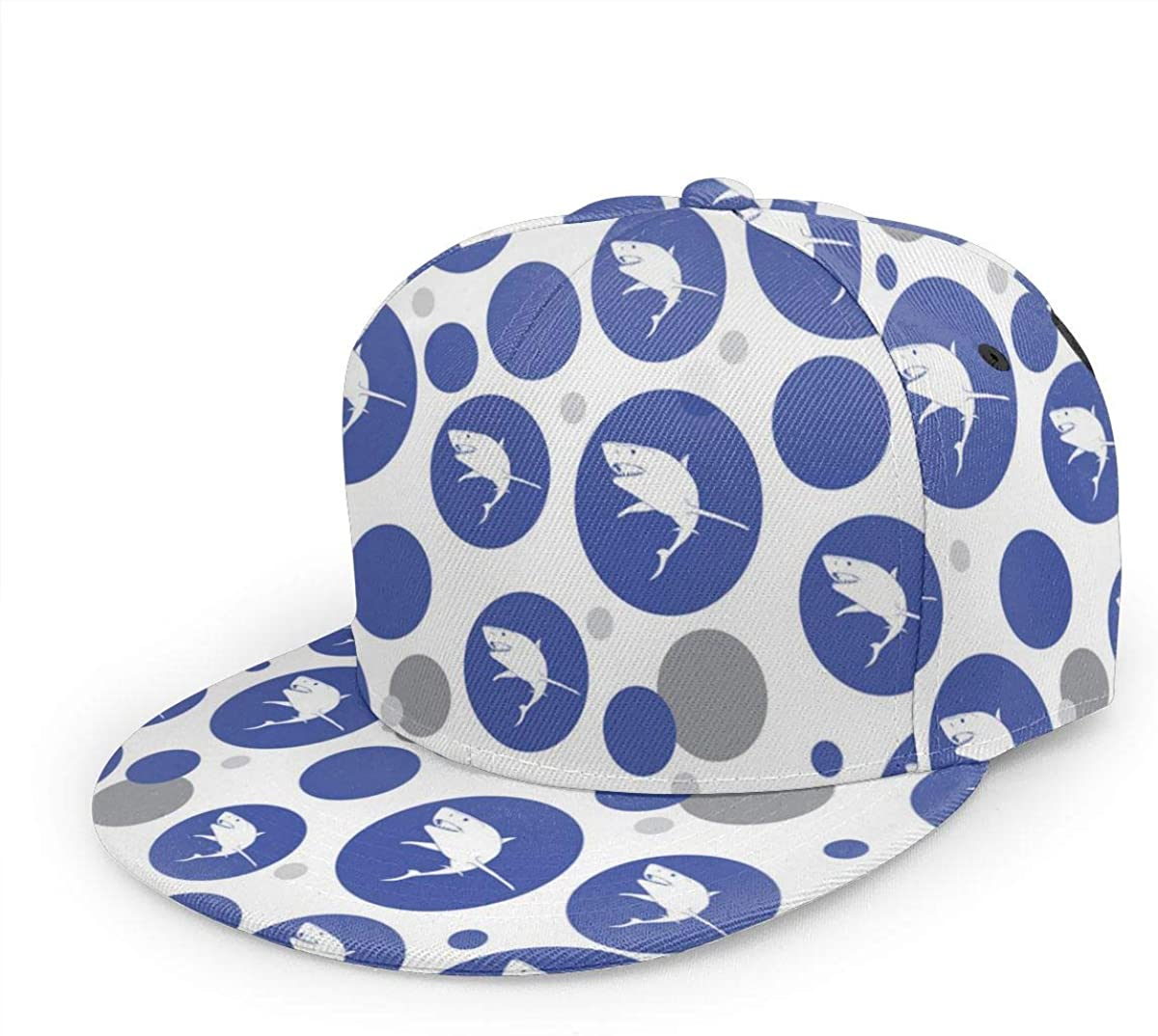 Shark Pattern Denim Dad Cap Baseball Hat Adjustable Sun Cap Hip Pop Hat